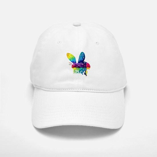 Rainbow Bee With Multicolored Hearts Baseball Baseball Cap