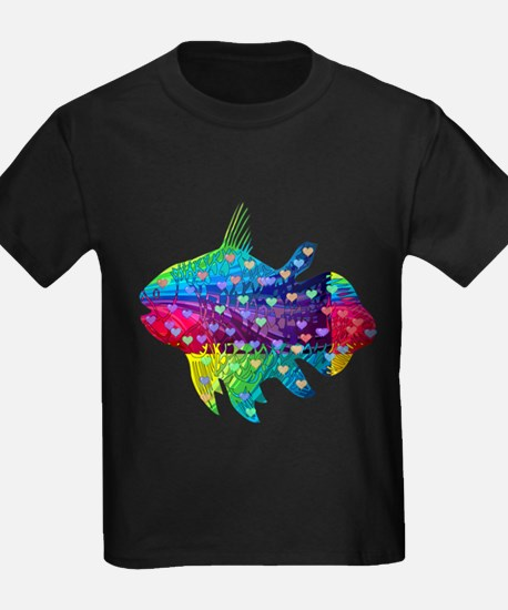 Rainbow Fish With Multicolored Hearts T-Shirt