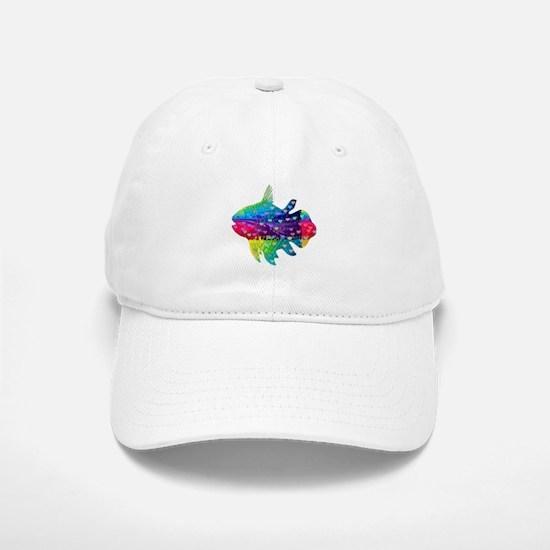 Rainbow Fish With Multicolored Hearts Baseball Baseball Cap
