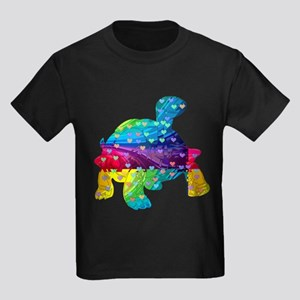 Rainbow Turtle With Multicolored Hearts T-Shirt