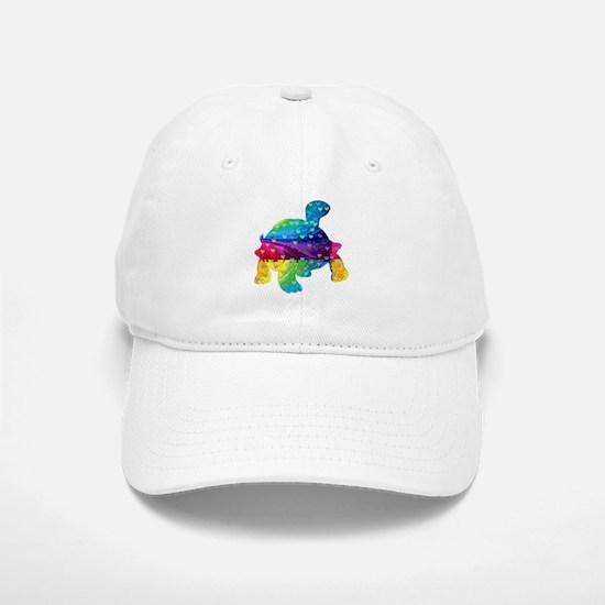 Rainbow Turtle With Multicolored Hearts Baseball Baseball Cap