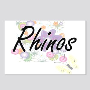 Rhinos artistic design wi Postcards (Package of 8)
