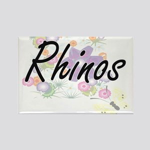 Rhinos artistic design with flowers Magnets