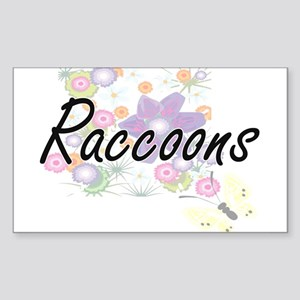 Raccoons artistic design with flowers Sticker