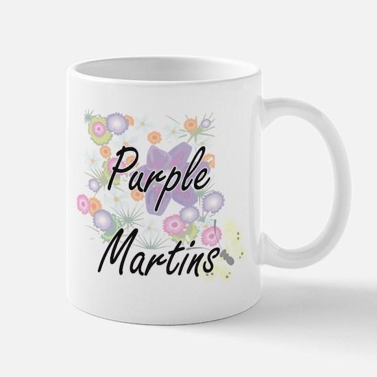 Purple Martins artistic design with flowers Mugs