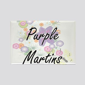 Purple Martins artistic design with flower Magnets