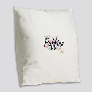 Puffins artistic design with f Burlap Throw Pillow
