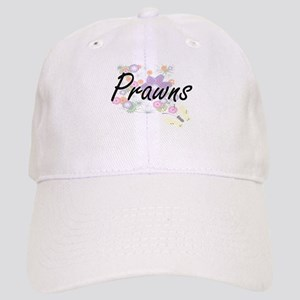 Prawns artistic design with flowers Cap