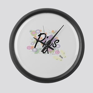 Pigs artistic design with flowers Large Wall Clock