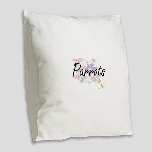 Parrots artistic design with f Burlap Throw Pillow