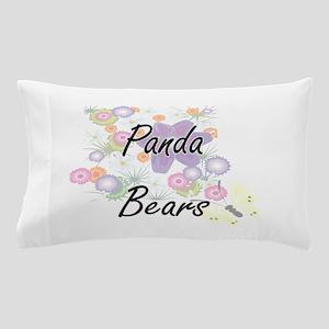 Panda Bears artistic design with flowe Pillow Case