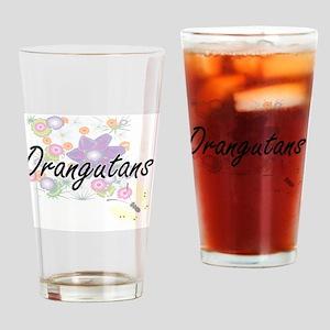 Orangutans artistic design with flo Drinking Glass