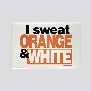 I Sweat Orange and White Rectangle Magnet
