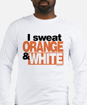 I Sweat Orange and White Long Sleeve T-Shirt