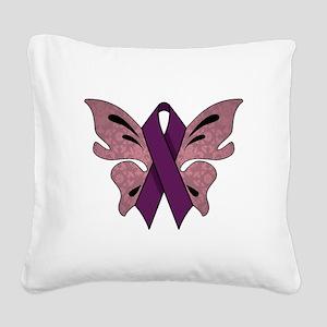 PURPLE RIBBON Square Canvas Pillow