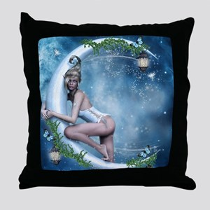 Female Elf Moon Throw Pillow