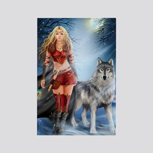 Warrior Woman and Wolf Rectangle Magnet