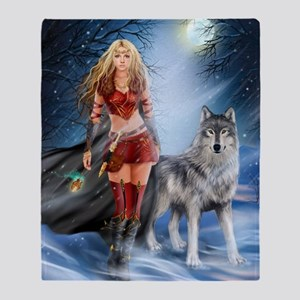 Warrior Woman and Wolf Throw Blanket