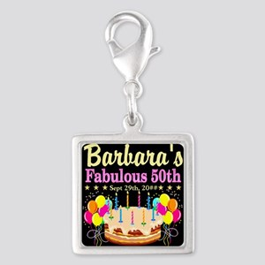 FABULOUS 50TH Silver Square Charm