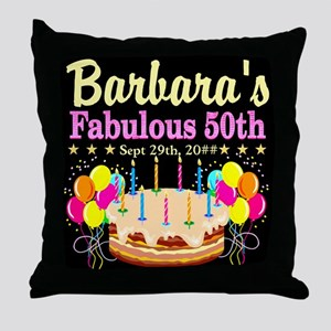FABULOUS 50TH Throw Pillow
