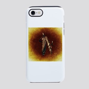 Brown Eagle Feathers on Tan iPhone 8/7 Tough Case
