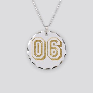 Glitter Number 6 Sports Jers Necklace Circle Charm
