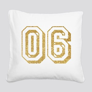 Glitter Number 6 Sports Jerse Square Canvas Pillow