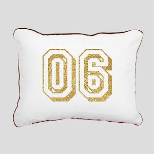Glitter Number 6 Sports Rectangular Canvas Pillow