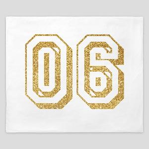 Glitter Number 6 Sports Jersey King Duvet