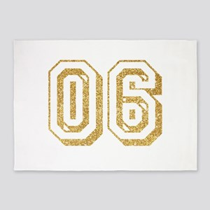 Glitter Number 6 Sports Jersey 5'x7'Area Rug