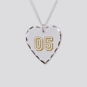 Glitter Number 5 Sports Jerse Necklace Heart Charm