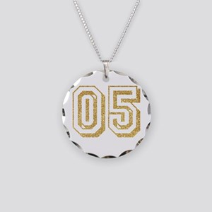 Glitter Number 5 Sports Jers Necklace Circle Charm