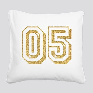 Glitter Number 5 Sports Jerse Square Canvas Pillow