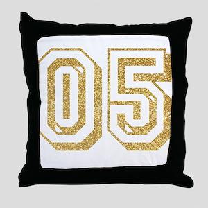 Glitter Number 5 Sports Jersey Throw Pillow