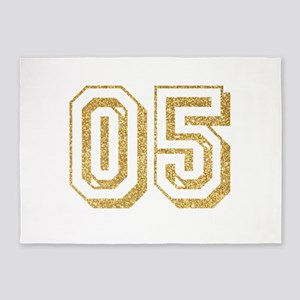Glitter Number 5 Sports Jersey 5'x7'Area Rug
