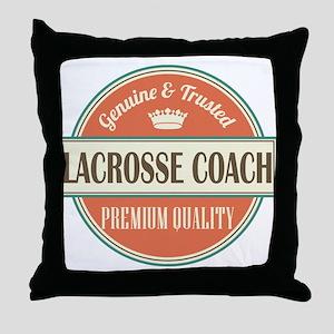 lacrosse coach vintage logo Throw Pillow