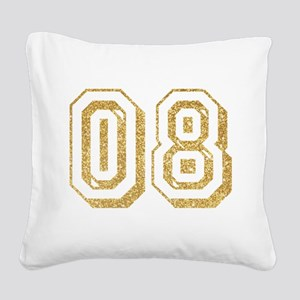 Glitter Number 8 Sports Jerse Square Canvas Pillow