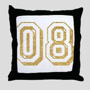 Glitter Number 8 Sports Jersey Throw Pillow