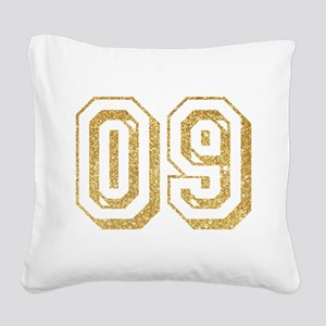 Glitter Number 9 Sports Jerse Square Canvas Pillow