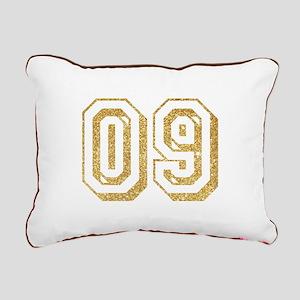 Glitter Number 9 Sports Rectangular Canvas Pillow