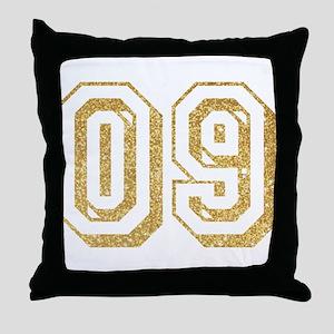 Glitter Number 9 Sports Jersey Throw Pillow