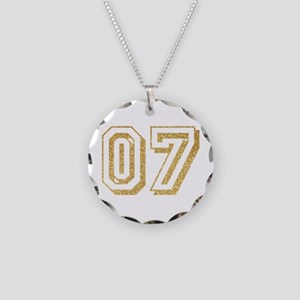 Glitter Number 7 Sports Jers Necklace Circle Charm