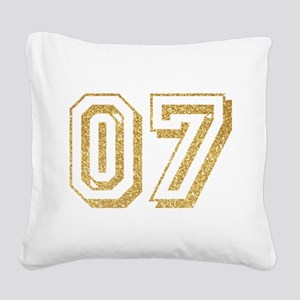 Glitter Number 7 Sports Jerse Square Canvas Pillow