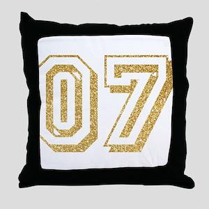 Glitter Number 7 Sports Jersey Throw Pillow