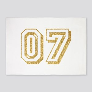 Glitter Number 7 Sports Jersey 5'x7'Area Rug