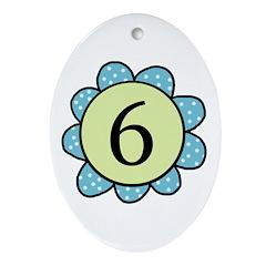 6 blue/green flower Oval Ornament
