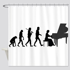 Piano Player Evolution Shower Curtain