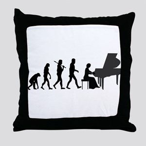 Piano Player Evolution Throw Pillow