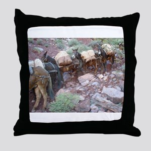 South Kiabab Grand Canyon Mule Ride P Throw Pillow