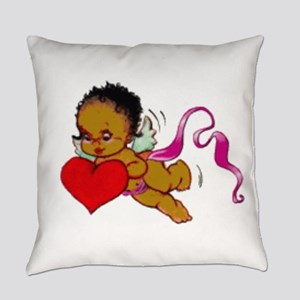Cute Black African Cupid Everyday Pillow